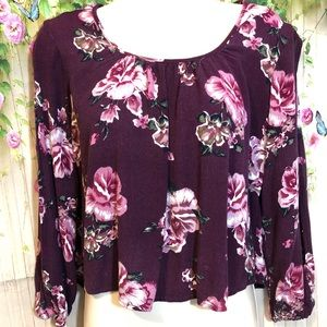 Charlotte Russe Maroon Floral Blouse Size Medium